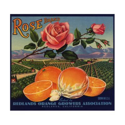 Rose Brand - Redlands, California - Citrus Crate Label by Lantern Press