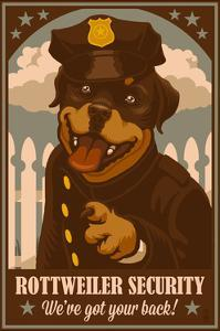 Rottweiler - Retro Security Ad by Lantern Press