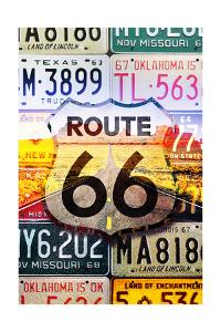 Route 66 License Plates - Highway Road by Lantern Press