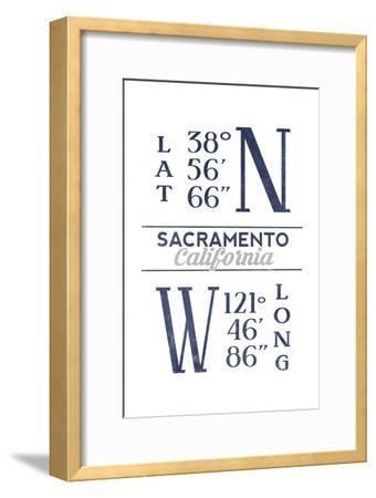 Sacramento, California - Latitude and Longitude (Blue)