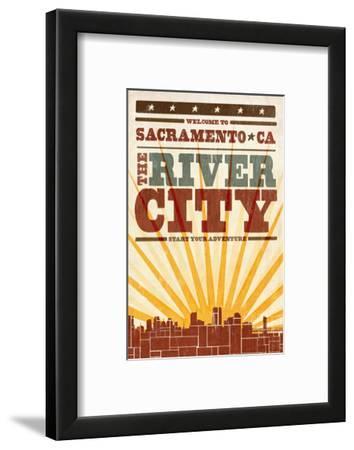Sacramento, California - Skyline and Sunburst Screenprint Style
