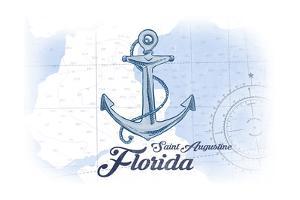 Saint Augustine, Florida - Anchor - Blue - Coastal Icon by Lantern Press