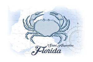 Saint Augustine, Florida - Crab - Blue - Coastal Icon by Lantern Press