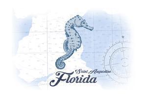 Saint Augustine, Florida - Seahorse - Blue - Coastal Icon by Lantern Press