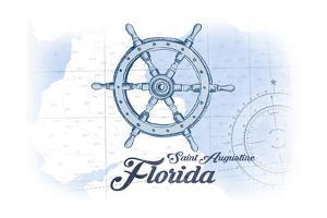 Saint Augustine, Florida - Ship Wheel - Blue - Coastal Icon by Lantern Press