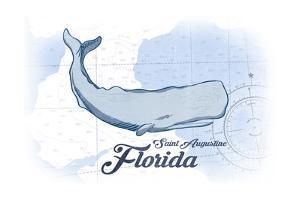Saint Augustine, Florida - Whale - Blue - Coastal Icon by Lantern Press
