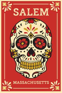Salem, Massachusetts - Day of the Dead - Sugar Skull and Flower Pattern by Lantern Press