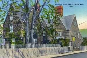Salem, Massachusetts, Exterior View of the House of Seven Gables by Lantern Press