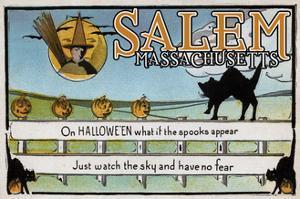 Salem, Massachusetts - Halloween Greeting - Cat on Fence - Vintage Artwork by Lantern Press