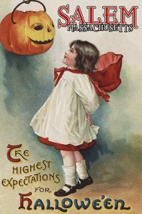 Salem, Massachusetts - Halloween Greeting - Girl in Red and White - Vintage Artwork by Lantern Press