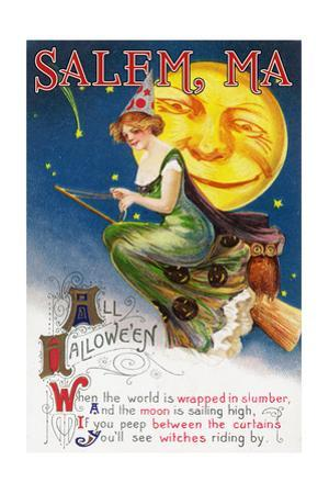 Salem, Massachusetts - Halloween Greeting - Witch on a Broom by Full Moon - Vintage Artwork