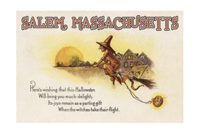 Salem, Massachusetts - Halloween Joys - Witch on Broom - Vintage Artwork