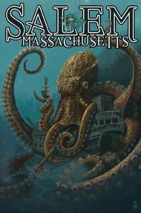 Salem, Massachusetts - Octopus and Submersible by Lantern Press