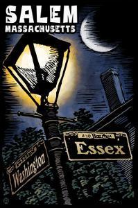 Salem, Massachusetts - Street Lampost at Night - Scratchboard by Lantern Press