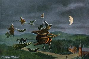 Salem, Massachusetts - Ye Salem Witches in Flight by Lantern Press
