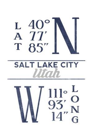 Salt Lake City, Utah - Latitude and Longitude (Blue) by Lantern Press