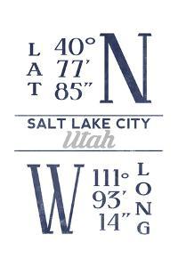 Salt Lake City, Utah - Latitude and Longitude (Blue) by Lantern Press