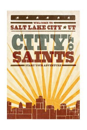 Salt Lake City, Utah - Skyline and Sunburst Screenprint Style by Lantern Press