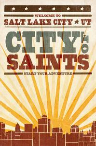 Salt Lake City, Utah - Skyline and Sunburst Screenprint Style by Lantern Press