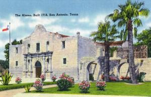 San Antonio, Texas - Exterior View of the Alamo, c.1945 by Lantern Press
