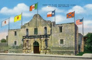 San Antonio, Texas - Exterior View of the Alamo under Six Different Flags, c.1940 by Lantern Press