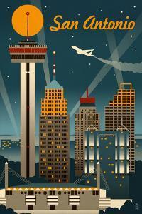 San Antonio, Texas - Retro Skyline by Lantern Press