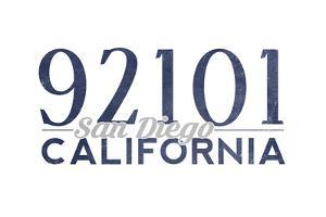 San Diego, California - 92101 Zip Code (Blue) by Lantern Press