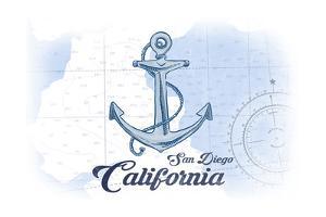 San Diego, California - Anchor - Blue - Coastal Icon by Lantern Press