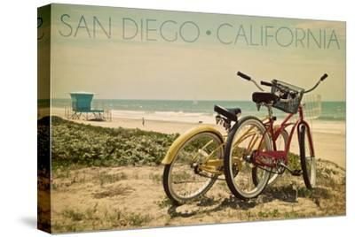 San Diego, California - Bicycles and Beach Scene