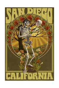 San Diego, California - Day of the Dead - Skeleton Holding Sugar Skull by Lantern Press