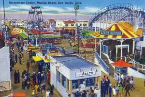 San Diego, California - Mission Beach Amusement Center Scene by Lantern Press