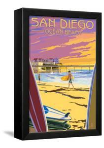 San Diego, California - Ocean Beach by Lantern Press