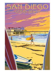 San Diego, California - Ocean Beach by Lantern Press