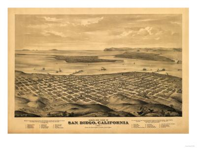 San Diego, California - Panoramic Map by Lantern Press