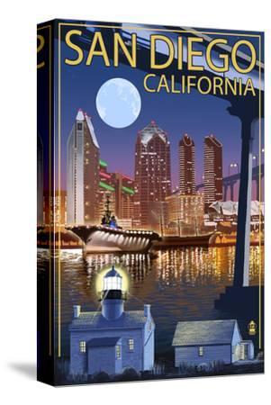 San Diego, California - Skyline at Night