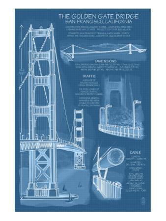 San Francisco, CA, Golden Gate Bridge Technical Blueprint by Lantern Press