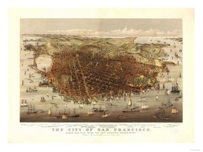 San Francisco, California - Panoramic Map No. 4 by Lantern Press
