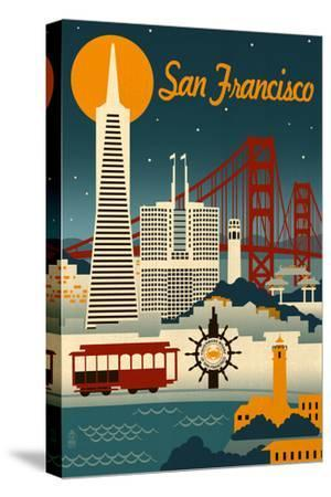 San Francisco, California - Retro Skyline