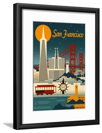 San Francisco, California - Retro Skyline