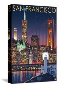 San Francisco, California Skyline at Night by Lantern Press