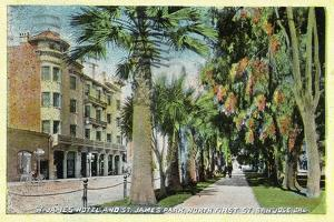 San Jose, California - North 1st Street View of St. James Hotel and Park by Lantern Press