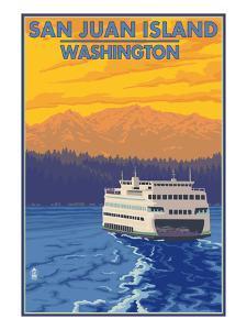 San Juan Island, Washington - Ferry and Mountains by Lantern Press