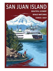San Juan Island, Washington - Ferry in Passage by Lantern Press
