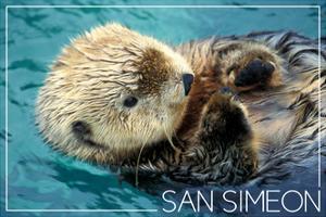 San Simeon, CA - Sea Otter by Lantern Press