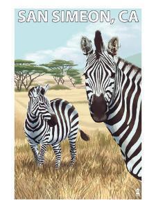 San Simeon, CA - Zebra Scene - by Lantern Press