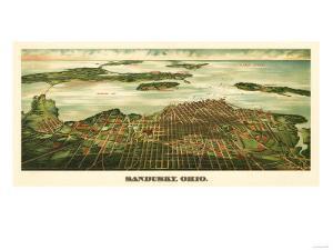 Sandusky, Ohio - Panoramic Map by Lantern Press