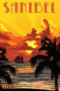 Sanibel, Florida - Sunset and Ship by Lantern Press