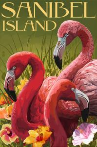 Sanibel Island, Florida - Flamingos by Lantern Press