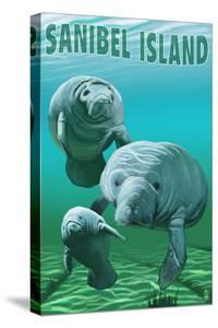 Sanibel Island, Florida - Manatees by Lantern Press
