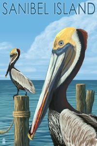 Sanibel Island, Florida - Pelican by Lantern Press